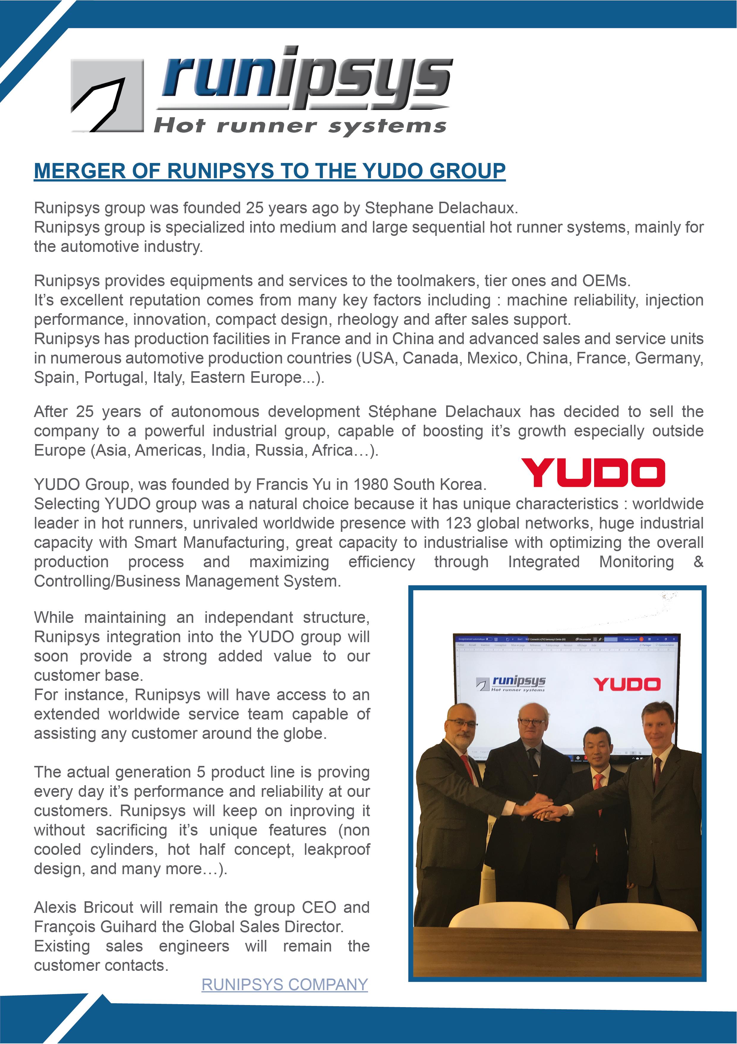 Merger of Runipsys to the YUDO group